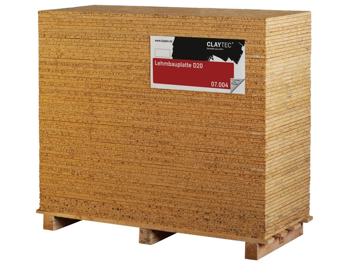 Palette mit Claytec-Lehmbauplatten