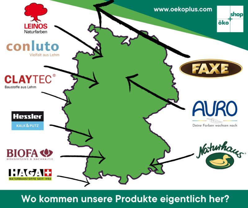 Karte der ÖkoPlus-Hersteller