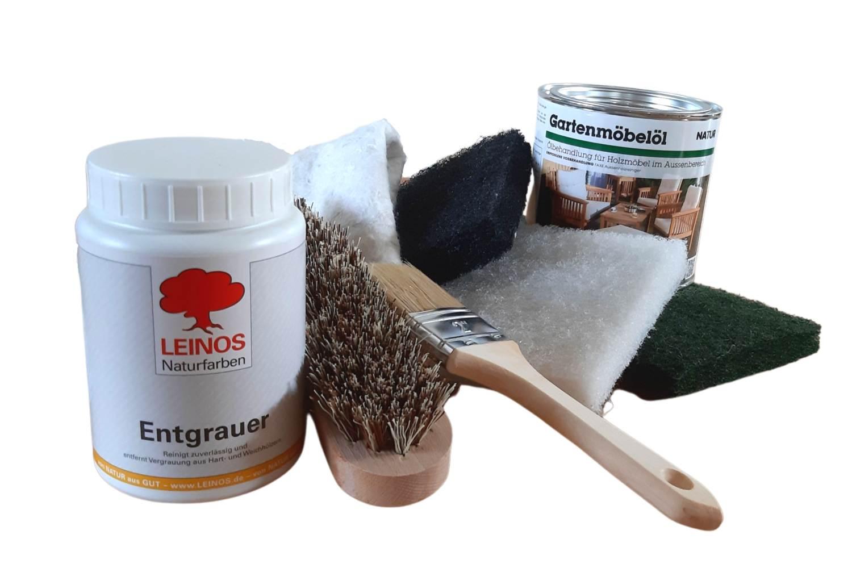 Reinigungs- und Pflegeset für Gartenmöbel - natur