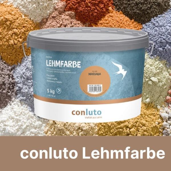 Farbeimer vor Lehmpulver von conluto