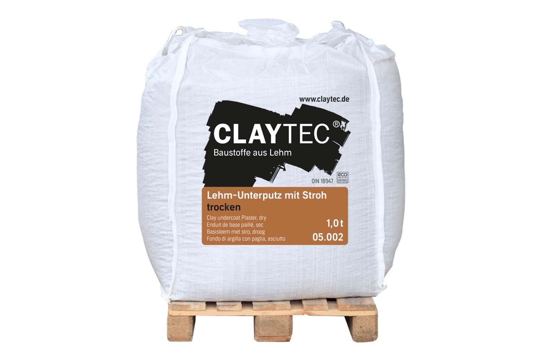 Claytec Lehm-Unterputz grob mit Stroh trocken