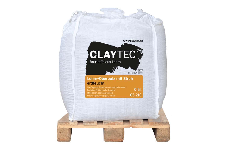 Claytec Lehm-Oberputz grob mit Stroh erdfeucht