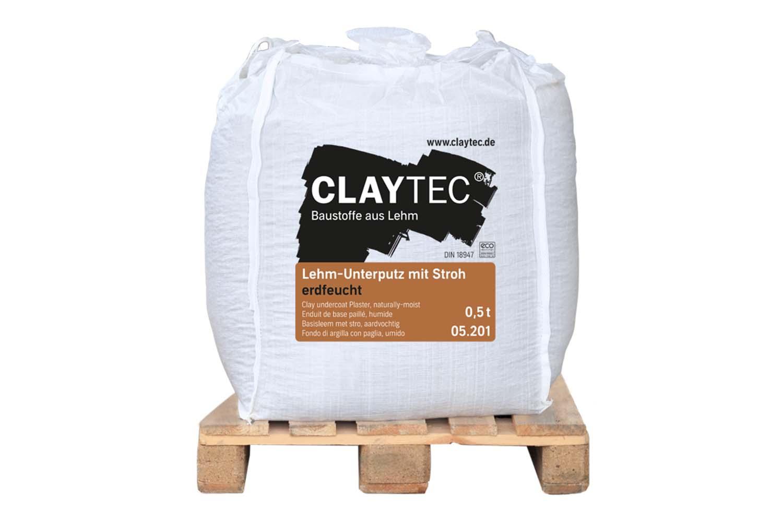 Claytec Lehm-Unterputz grob mit Stroh erdfeucht